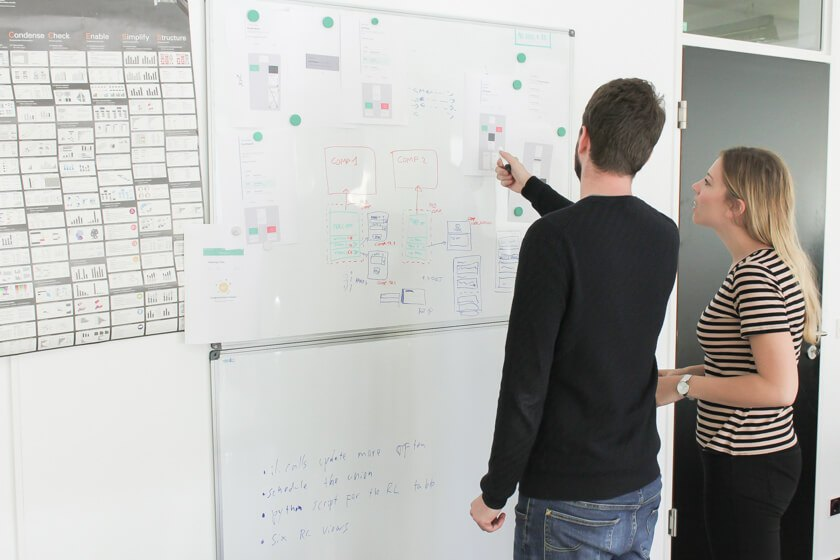 Digitale Leute - Daan Löning - Helpling - Daan arbeitet gemeinsam mit einer Kollegin an einem Whiteboard.