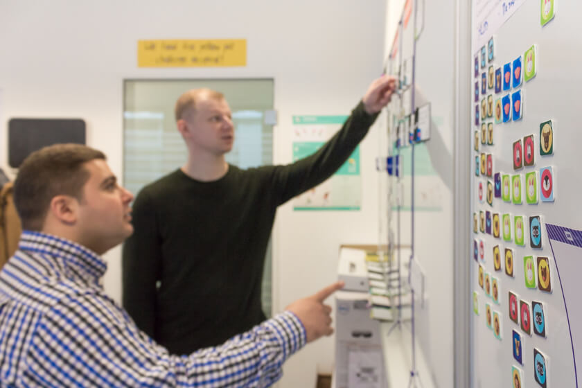 Digitale Leute - André Hoendgen - Justix - André und seinn Kollege besprechen den aktuellen Sprint am Scrumboard in ihrem Office im Kölner Mediapark.