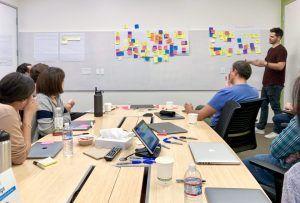 Mitarbeiter von Google Analytics UX-Design beim Brainstorm im Office in Mountain View.