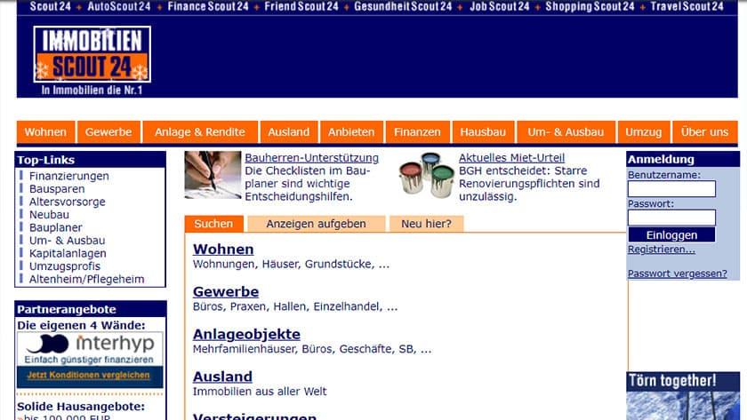 So sah die Immobilienscout24-Webseite im Jahr 2003 aus.